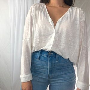 CABI/ linen button down top